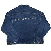 90s Vtg Nike Friends Tv Show Cast And Crew Denim Jean Jacket Embroidered Xxl Blue