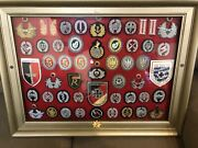 Vintage Replica German War Patches Lot Of 50 Show Piece Frame 28 1/2x21