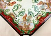 2 Hand Painted Plates Hua Ping Tang Zhi Rooster Hen Decorative Plates