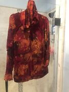 Chicos Travelers Red Long Sleeve Button Front Shirt Jacket Womens Sz 3 Pockets