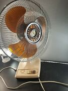 Rare Vintage Galaxy 16 3-speed Oscillating Fan Cream And Amber 16-1 Style S-cr