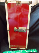 Vintage 1970's Red Metal 16 Doll Clothes Case Trunk Barbie Baby Play Wardrobe