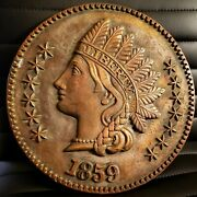 Beautiful Vintage 1859 Ceramic Indian Head Penny Sign 12×12