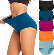 Womenand039s Underwear High Waist Cotton Breathable Full Coverage Panties Brief Mult