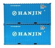 Jtc Model Trains 205367 N Hanjin 20' Standard Height Container Pack Of 2
