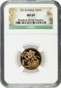 2013 I India 1 Sovereign .2354 Oz Gold Ngc Ms69 Gem Uncirculated Coin