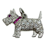 And Co Platinum Diamond And Ruby Scottie Dog Terrier Pendant Charm 5/8