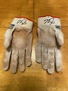 Mike Trout Game Used Worn 2018 Batting Gloves Signed Autographed Mears Loa Gamer