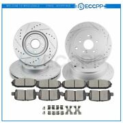For Acura Mdx Front And Rear Brake Rotor Ceramic Pads W/ Hardware Drill Slot