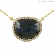 Natural Diamond Solid 14k Yellow Gold Labradorite 18 Inches Necklace