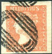 Mauritius-1859 1d Dull Vermilion Dardenne Superb Used 4 Margin With Cert Sg 42