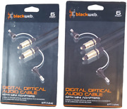 Blackweb 6 Foot Digital Optical Toslink Audio Cable With Mini Adapters Lot Of 2
