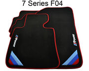 Floor Mats For Bmw 7 Series F04 Black Red Rounds With ///m Power Emblem Lhd New
