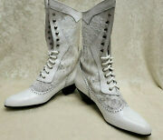 Oak Tree Farms White Leather Cathedral Old West Granny Vintage Boots Size 6 New