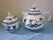 Beautiful Antique Vintage Blue Onion Zwiebelmuster Teapot And Sugar Bowl Set Nice