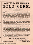 Early Ad Walter Baker Mansion Gold Cure Inebriety Alcoholism Dorchester