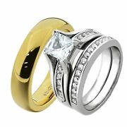 His And Hers Wedding Rings Sets White Stainless Steel Cz Tungsten Men Band Fa