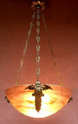 Fantastic Art Nouveau Hanging Lamp From Muller Fres Around 1920 From France