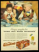 1955 Westons Extra Thin Saltines Print Advertising 347a