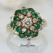 Fabulous Vintage 14k Yellow Gold Natural Diamonds Emeralds Cluster Cocktail Ring