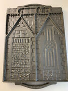 John Wright Cast Iron Gingerbread House Christmas Holiday 2 Sided Molds Vintage