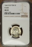 1945 P Ngc Ms65 Fs-804 /501 Rpm + Tdr Repunched Mm Tripled Die Jefferson Nickel