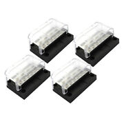 4pcs Bus Bar Electrical Terminal Junction Box 32v 100a 12 Point With Cover
