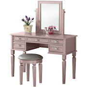 Bobkona Vanity Table With Stool Set White/champagne/galaxy Black/rose Gold