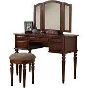 Bobkona F4079 St. Croix Collection Vanity Set With Stool Silver/cherry/black...