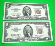 1953b Two 2 Dollar Us Notes Red Seal 2 Consecutive Cu-crisp Uncirculated