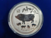 🌟2019 1 Kilo .9999 Fine Silver Lunar Year Of The Pig In Capsule From Perth Mint
