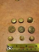 Lot Of 9 Us Navy Army Vintage Antique Brass W/ Anchor Eagle Great Seal Buttons