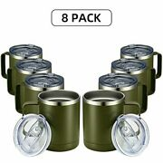 Meway 12oz Coffee Mug With Handle 8 Pack Bulk,stainless Steel Insulated Travel T