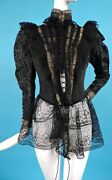 Gothic Glam 1890andrsquos Faille And Figured Seide Jacke Gold Bullion+perlen+spitze