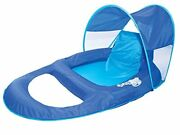Swimways Spring Float Recliner With Canopy - Swim Lounger For Pool Or Lake, Blue