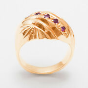 18ct Rose Gold Natural Ruby Womens Band Ring - Sizes J To Z