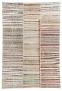 9.7x14.3 Ft Vintage Cotton Rag Rug With Soft Colored Stripes
