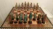 Vintage Rare Chess Board And Chess Roman Pieces Marquetry Wood 20 X 20 In Game