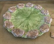 Brown Bunny Rabbit/grass-easter Ceramic Heavy Round Plate Tray Embossed Platter