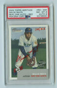 2002 Topps Heritage Red Autograph Willie Mays 38/53 New York Giants - Graded