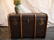 Antique Canvas And Wood Steamer Trunk With Brass Hardware. 1900s Refurbished