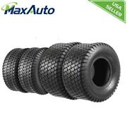 Maxauto 4pcs 15x6-6 Front And 19x9.5-8 Rear /4pr Lawn Mower Turf Tires For Garden