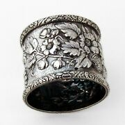 Repousse Floral Napkin Ring Sterling Silver