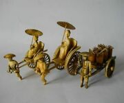 Vintage Japan Rickshaw 3 Figurines Middle Of The 20th Century Celluloid Material