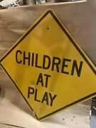 Children At Play Road Ahead Highway Sign Aluminum 24x24 In