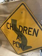 Children At Play/ Curving Road Highway Sign Aluminum 24x24 In