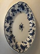 """Royal Meissen - Fine China Of Japan 12 1/2"""" Oval Blue Floral Serving Tray"""