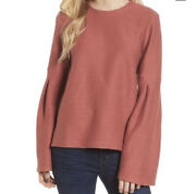 Madewell Flare Sleeve Ribbed Top Antique Rose Xs