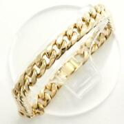 18k Yellow Gold Bracelet About19.5cm Curb Chain 2side Free Shipping Used