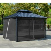 Aleko Double Roof Aluminum And Steel Hardtop 12and039 X 10and039 Gazebo With Mosquito Net